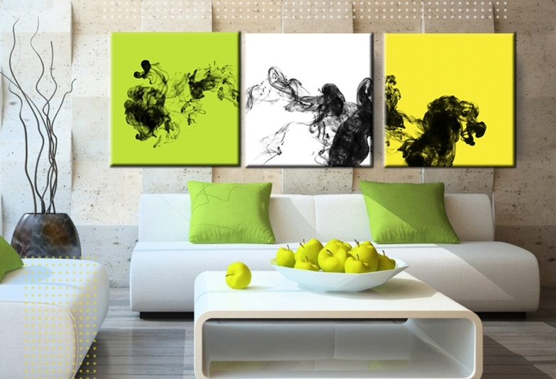 Most Recent Yellow And Green Wall Art Regarding 3 Piece Thick Ink Yellow White Green Abstract Wall Art Painting With (View 6 of 15)