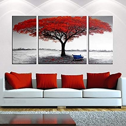 Most Recently Released 3 Set Canvas Wall Art In Amazon: Hand Painted 3 Piece Gallery Wrapped Home Canvas Wall (View 4 of 15)