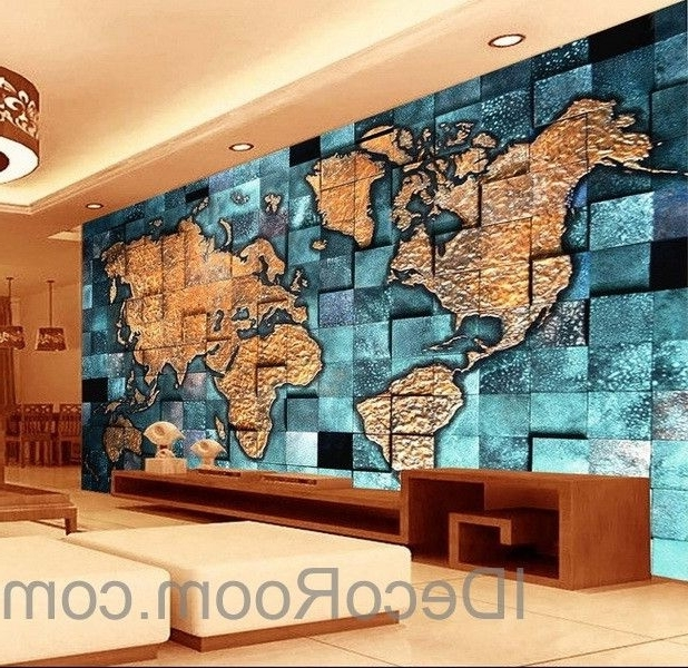 Most Recently Released 3D Blue Ocean Abstract World Map Wallpaper Wall Decals Wall Art Regarding Abstract World Map Wall Art (View 10 of 15)