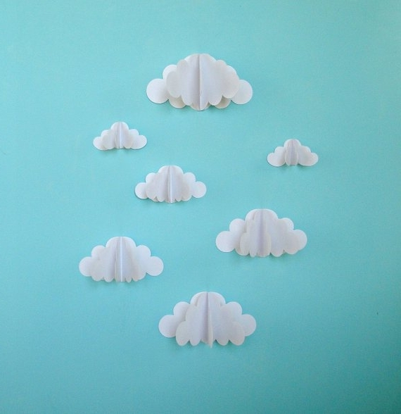 Most Recently Released 3D Clouds Out Of Paper Wall Art In 3D Paper Wall Clouds 3D Paper Wall Art/wall Decor/wall (View 2 of 15)
