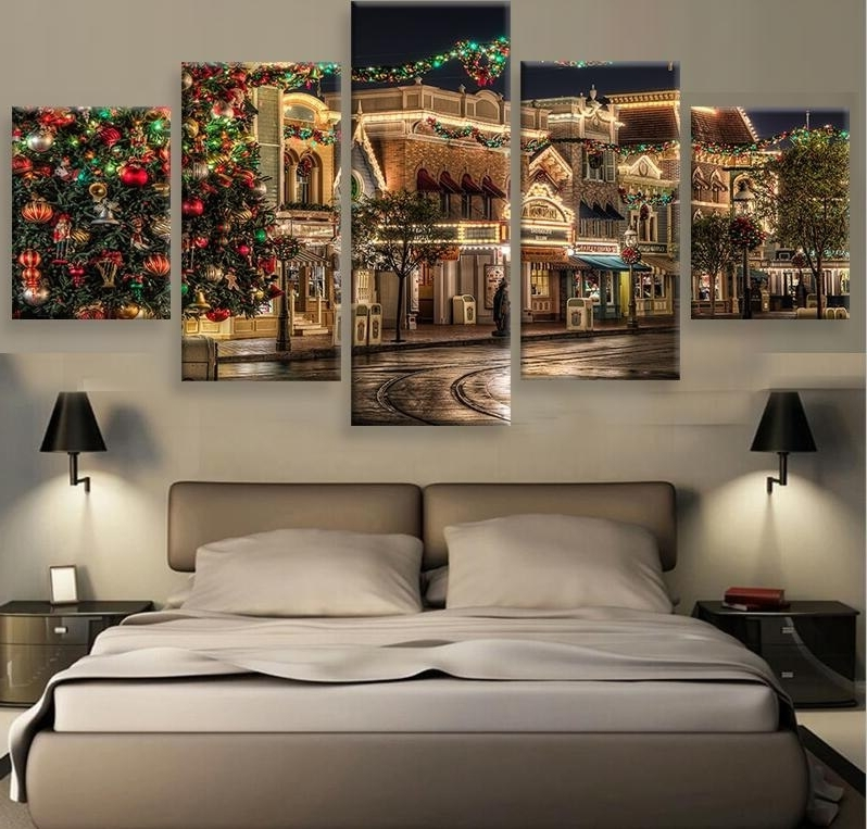 Most Recently Released 5 Panel Christmas Commercial Street Night View Modern Home Wall Inside Commercial Wall Art (View 9 of 15)