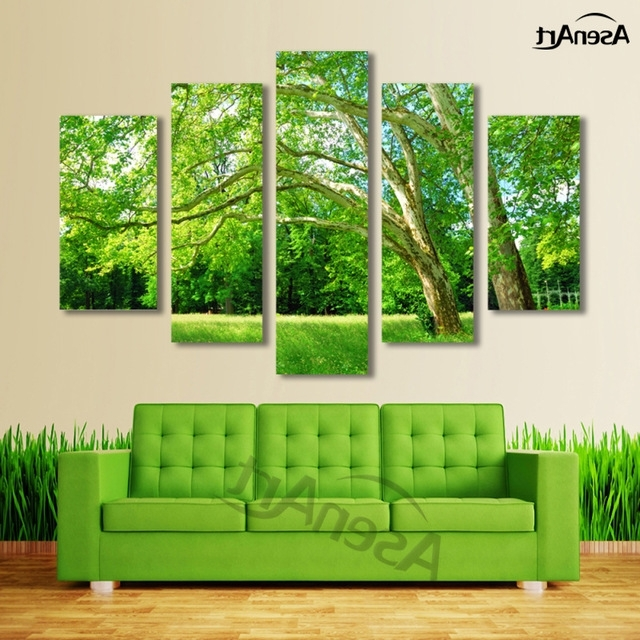 Most Recently Released 5 Panel Wall Art Green Tree Painting Canvas Prints Wall Paintings Within Green Canvas Wall Art (View 1 of 15)