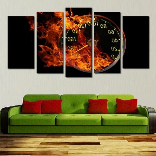 Most Recently Released Abstract Clock Wall Art For Hot Sell 5 Panels Abstract Oil Painting Wall Art The Fire Wall Clock (View 12 of 15)