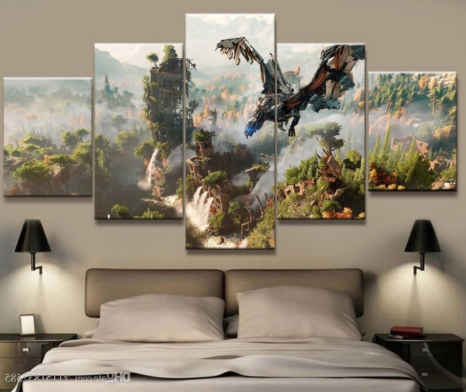 Most Recently Released Abstract Horizon Wall Art Regarding 5 Panel Horizon Zero Dawn Game Canvas Printed Painting For Living (View 11 of 15)