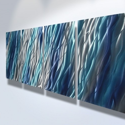 Most Recently Released Abstract Metal Art Wall Art Modern Decor Sculpture Blue Reef Regarding Blue Abstract Wall Art (View 12 of 15)