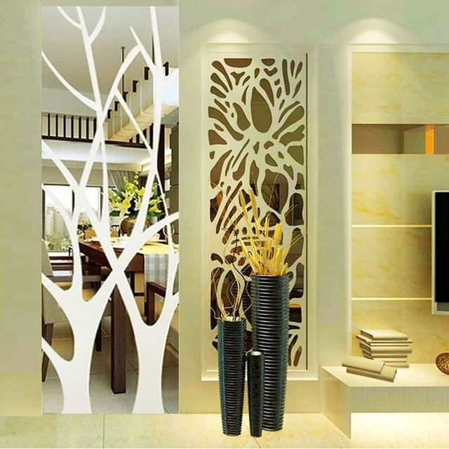 Most Recently Released Abstract Mirror Wall Art Pertaining To 50Cm*185Cm Removable Lucky Tree Acrylic Mirror Wall Stickers Diy (View 12 of 15)