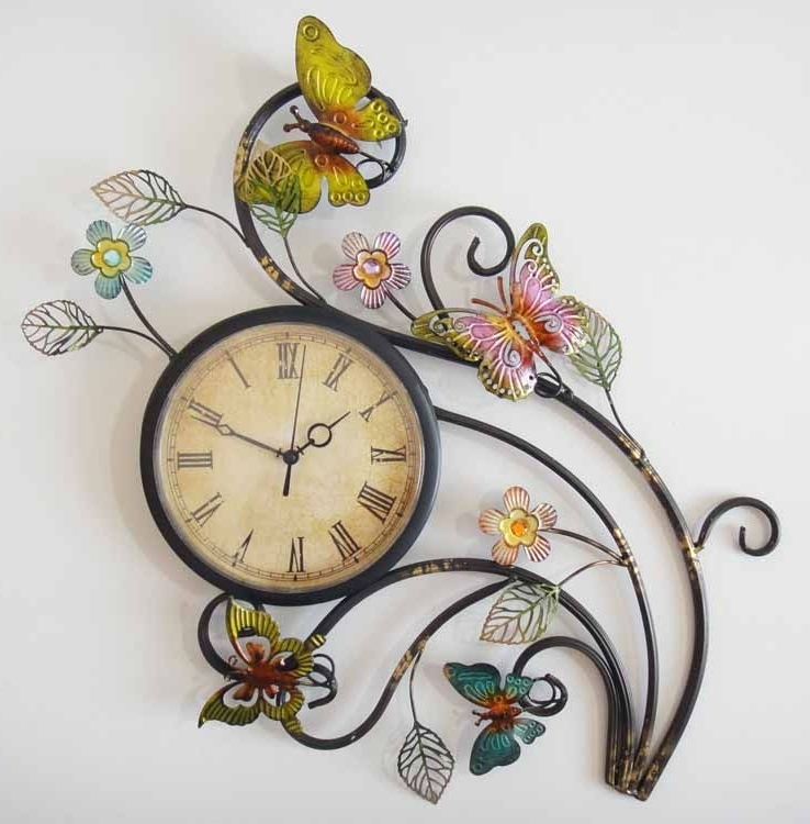 Most Recently Released Abstract Wall Art With Clock Within Metal Wall Art – Butterfly Wall Clock (View 3 of 15)
