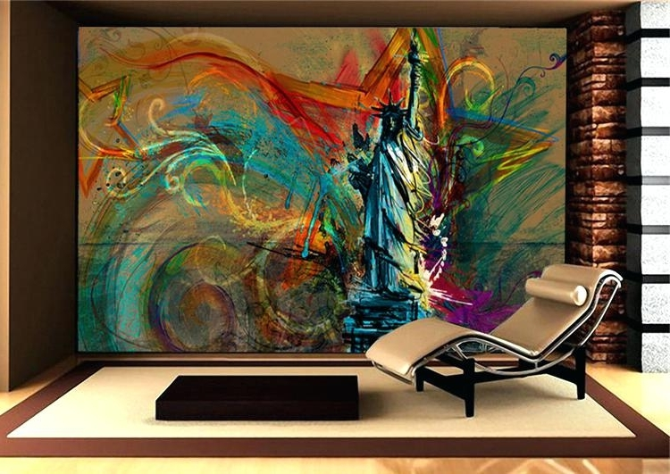 Most Recently Released Abstract Wall Mural Photo Wall Mural Wallpaper For Bedroom Sofa With Abstract Art Wall Murals (View 8 of 15)