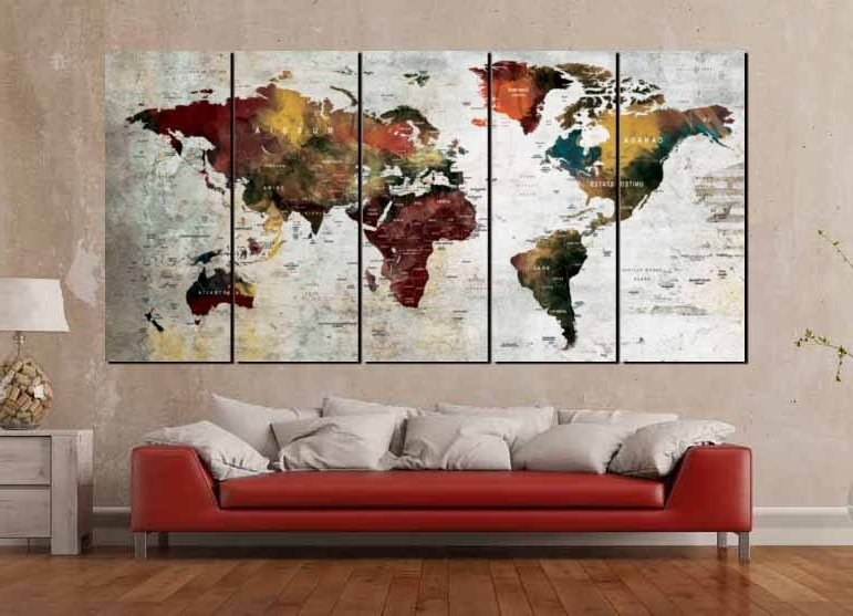 Most Recently Released Abstract World Map Wall Art In World Map Art,world Map Canvas,large World Map,world Map Wall Art (View 9 of 15)