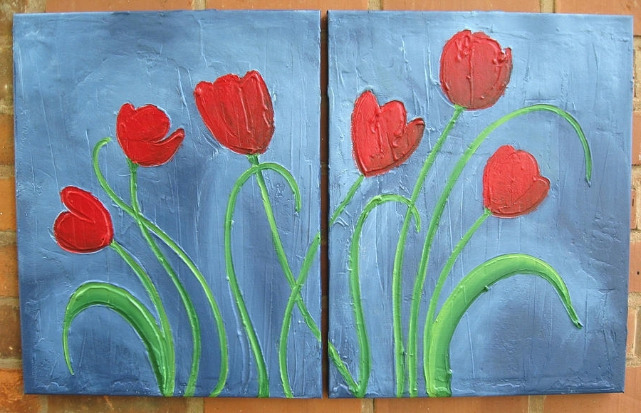 Most Recently Released Acrylic Abstract Wall Art In Triptych Tulip Flower Painting Original Floral Wall Art Acrylic (View 11 of 15)