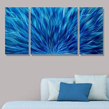 Most Recently Released Amazon: Blue Modern Abstract Metal Wall Art – Hand Painted In Abstract Metal Wall Art Painting (View 4 of 15)