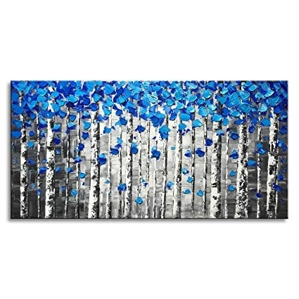Most Recently Released Amazon: Large Abstract Forest Wall Art Hand Painted Modern Blue Regarding Blue Canvas Abstract Wall Art (View 9 of 15)