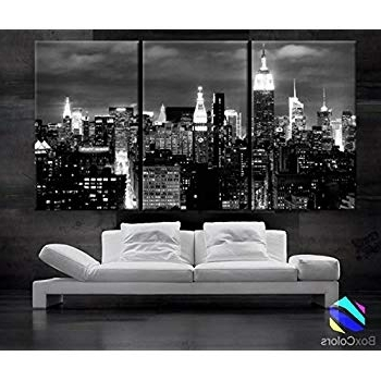 Most Recently Released Amazon: New York Sundown Canvas Art Print, Large Wall Art City In Black And White New York Canvas Wall Art (View 7 of 15)