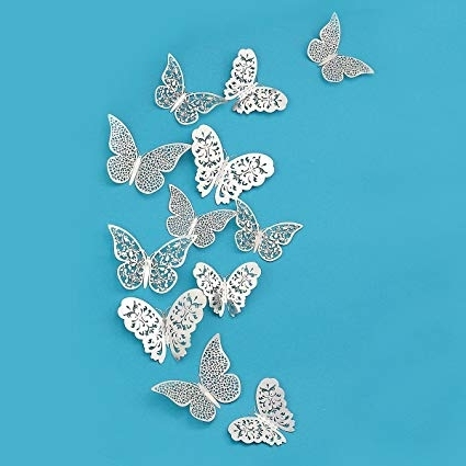 Most Recently Released Amazon: Pinkblume Silver Butterfly Decorations,3D Wall Decals For Butterflies 3D Wall Art (View 12 of 15)