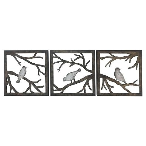 Most Recently Released Bird Wall Sculptures Wall Art Ideas Design Birds Branch Square Piece With Target Bird Wall Decor (View 1 of 15)