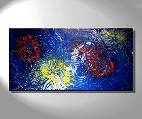 Most Recently Released Bold Abstract Wall Art Within Amazon: Blue Abstract Painting Original Art Bold Vibrant Colors (View 10 of 15)