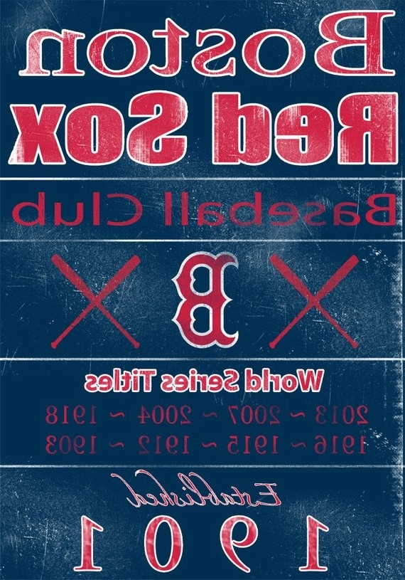 Most Recently Released Boston Red Sox Vintage Wall Art Banner On Real Wood 16X (View 9 of 15)