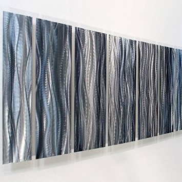 Most Recently Released Buy Over Sized Aqua Blue Contemporary Abstract Hand Painted Metal Intended For Blue And Silver Wall Art (View 6 of 15)