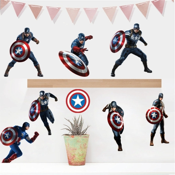 Most Recently Released Captain America 3D Wall Art Within Captain America Wall Decals 3D Wall Stickers For Baby Nursery Home (View 12 of 15)