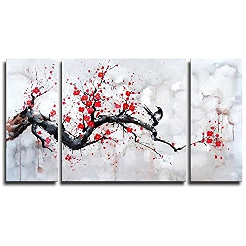 Most Recently Released Cherry Blossom Pictures For Wall: Amazon Throughout Abstract Cherry Blossom Wall Art (View 8 of 15)