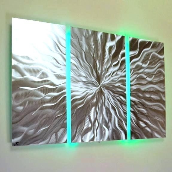 Most Recently Released Colorful Metal Wall Art Cosmic Energy 3 Panel Abstract With Led Inside Abstract Metal Wall Art Panels (View 13 of 15)