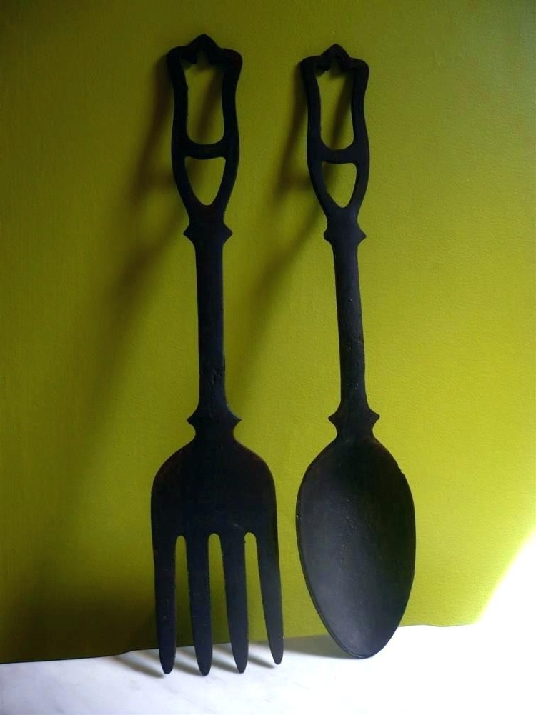 Most Recently Released Cutlery Wall Art Placed Giant Spoon And Fork Decor Home Design In In Oversized Cutlery Wall Art (View 5 of 15)