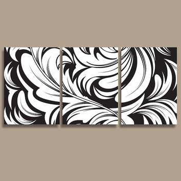 Most Recently Released Damask Wall Art Canvas Artwork Swirl Flourish Design Black White Set Regarding Black And White Damask Wall Art (View 10 of 15)