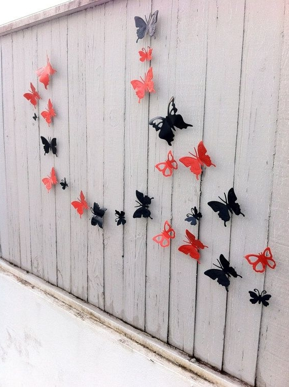 Most Recently Released Decorative Metal Butterflies Indoor – Outdoor Art 3D / Garden Decor Throughout 3D Garden Wall Art (View 11 of 15)