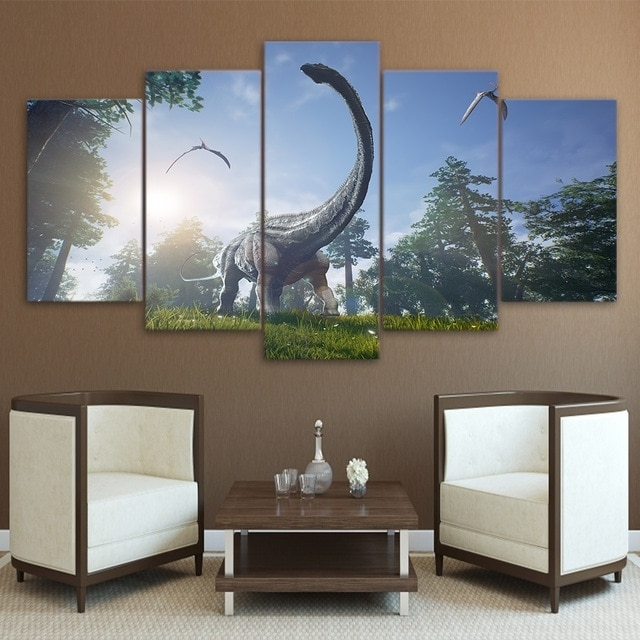 Most Recently Released Dinosaur Canvas Wall Art Regarding Modern Wall Art Canvas Prints Landscape 5 Panel Animal Dinosaur (View 10 of 15)