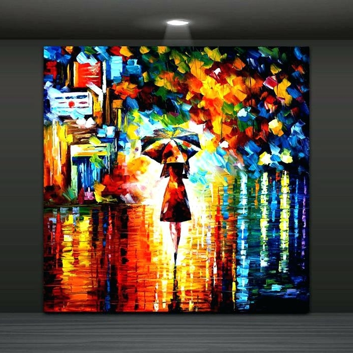 Most Recently Released Discount Wall Art Abstract Wall Painting Umbrella Girl In The Rain For Abstract Wall Art Canada (View 11 of 15)