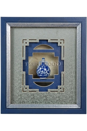 Most Recently Released Framed 3D Wall Art Intended For Mini Blue And White Porcelain Snuff Bottle 3D Framed Art Wall Decor (View 8 of 15)