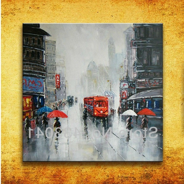 Most Recently Released Hand Painted Modern Abstract France Paris City Street Scene Oil Within Street Scene Wall Art (View 2 of 15)