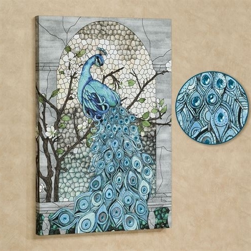 Most Recently Released Jeweled Peacock Wall Art Throughout Jeweled Blue Peacock Canvas Wall Art (View 7 of 15)