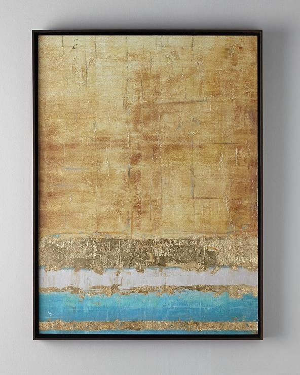 Most Recently Released John Richard Wall Art Inside John Richard Collection Aqua And Gold Giclee (View 7 of 15)
