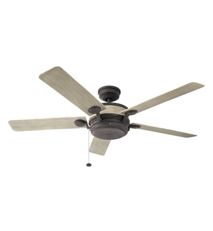 "Most Recently Released Kichler 310085Aub Uma 5 Blades 60"" Indoor/outdoor Ceiling Fan With In Outdoor Ceiling Fans With Pull Chain (View 8 of 15)"
