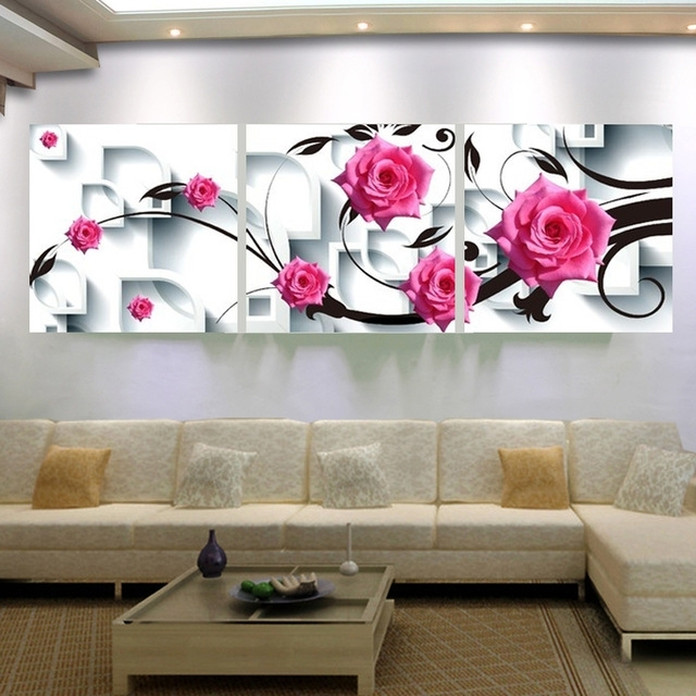 Most Recently Released Large Canvas Wall Art Flower Canvas Painting 3D Rose Flower Wall Regarding 3D Wall Art Canvas (View 3 of 15)