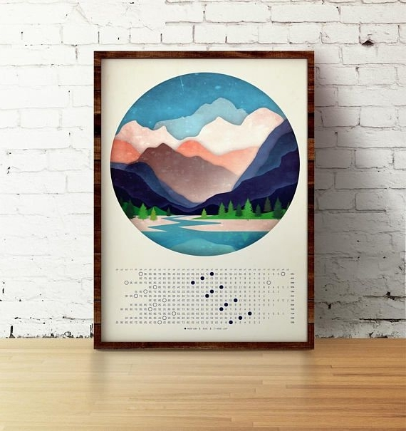 Most Recently Released Moon Calendar 2018 – Mountains And The River – Abstract Art – Wall For Abstract Calendar Art Wall (View 14 of 15)
