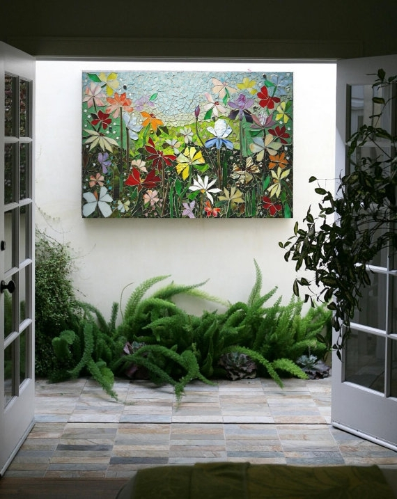 Most Recently Released Mosaic Wall Art Stained Glass Wall Decor Floral Garden Indoor Intended For Floral & Plant Wall Art (View 5 of 15)