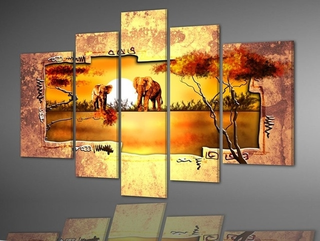 Most Recently Released Multiple Panel Wall Art Inside Hand Painted Multi Panel Canvas Wall Art Warm Elephant Forest Home (View 8 of 15)
