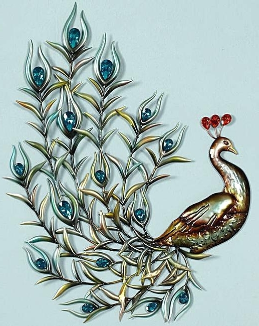 Most Recently Released Peacock Metal Wall Art With Peacock Metal Wall Art Neat On Large Canvas In P – Koodata (View 2 of 15)