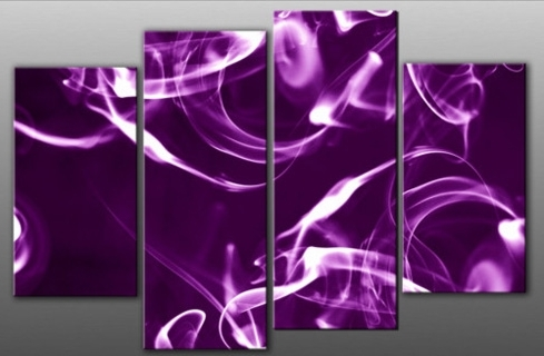 Most Recently Released Purple Abstract Wall Art For Bright Purple Smoke With Glow Abstract Canvas Wall Art Print 4 Panel (View 3 of 15)
