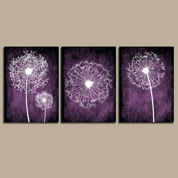 Most Recently Released Purple Wall Art Canvas Purple Wall Decor For Bedrooms New Dandelion Intended For Purple Canvas Wall Art (View 7 of 15)