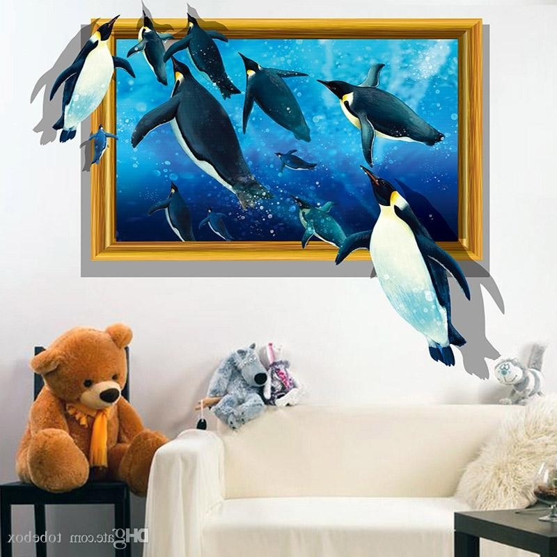 Most Recently Released Pvc 3D Visual Effects Shark Wall Art Stickers Decor Penguins Sharks Intended For 3D Visual Wall Art (View 9 of 15)