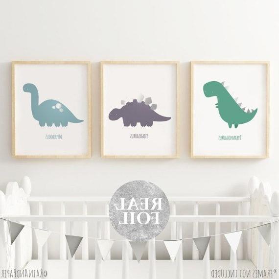 Most Recently Released Set Of 3, Dinosaur Nursery Decor, Kids Prints, Dinosaur Wall Art Within Dinosaur Wall Art For Kids (View 10 of 15)