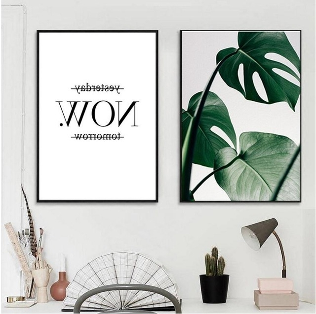 Most Recently Released Slogan Green Leaves Wall Art Set Canvas Art Palm Tree Leaves For Palm Leaf Wall Decor (View 3 of 15)
