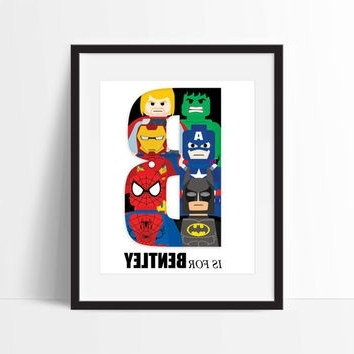 Most Recently Released Superhero Wall Art For Kids Inside Lego Superhero Personalized Art Print – From Dcastudio On Etsy (View 8 of 15)