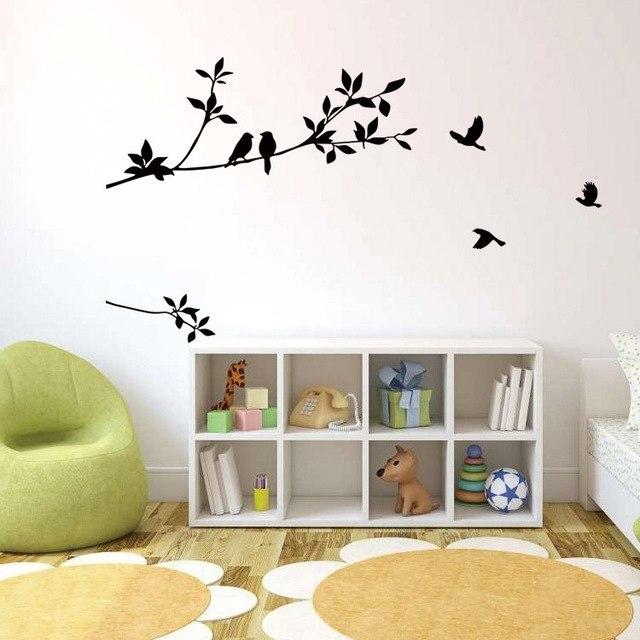 Most Recently Released Tree Branch Wall Art Inside Birds On The Black Tree Branch Wall Decal Sticker Living Room (View 6 of 15)