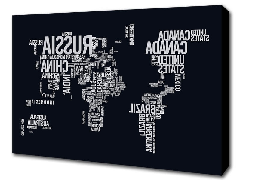 Most Recently Released Typography Canvas Wall Art Pertaining To World Map Typography Maps Canvas Stretched Canvas (View 6 of 15)