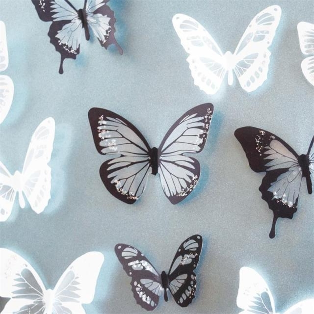 Most Up To Date 18Pcs Diy 3D Butterfly Wall Stickers Art Decal Pvc Butterflies Home With Regard To Diy 3D Wall Art Butterflies (View 11 of 15)