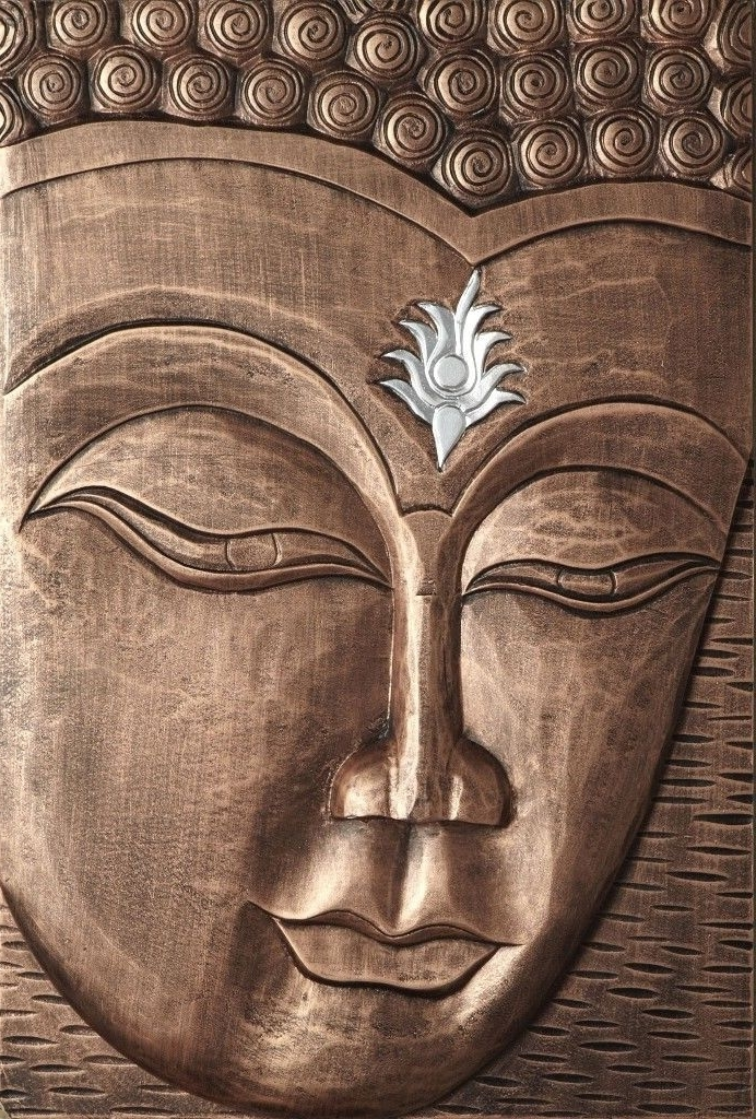 Most Up To Date 3D Buddha Wall Art Intended For Fabulous Copper Coloured 3D Enlightened Wooden Buddha Wall Art (View 7 of 15)